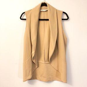 Camel draped vest